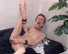 super skinny granny fucks dildo