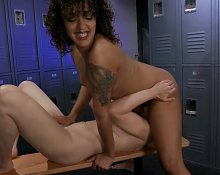 Dilly Daisy does lesbian wrestling with strap-on - Part 2