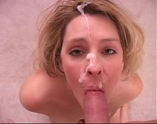 Wife takes hot facial after blowjob