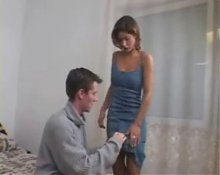 Frech guy getting Pegged by his busty wife