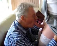 granpa sucking crossdresser boy's cock