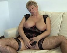 hot granny  paying with dildo and big cock