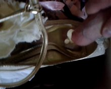 Cumming on wife's wedding shoes