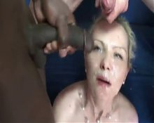 Blonde slutwife fucked in all holes