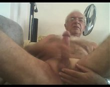 Silver chest grandpa wank and cum