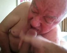 Hot grandpa sucking cock