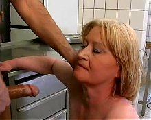 chubby granny fuck and blowjob with food
