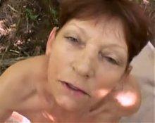Emilia Hairy Granny Outdoors POV Fucking With Facial
