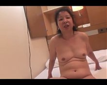 Hairy Japanese Mature fucked by young man