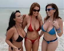 Charlee, Holly and Sara MILFs on the Beach FUCK