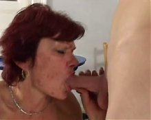 SEXY MOM n121 redhead granny mature with a young boy