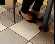 Candid Mature Shoeplay Feet at Dunkin