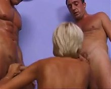 Cute and horny blonde MILF takes 3 cocks