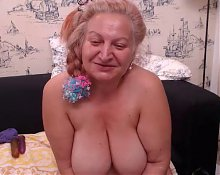 Granny Purple Dildo Play