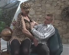 Huge-Boobs-Granny Outdoors by young Guy