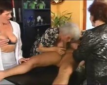 Granny and Friends Have Fun With Young Cock